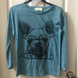 Zara Collection Blue French Bulldog Graphic Tee M